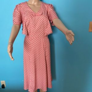 Hell Bunny swing dress in pink with white dots